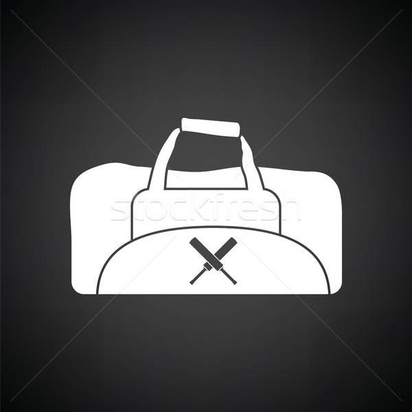 Krikett táska ikon feketefehér háttér felirat Stock fotó © angelp