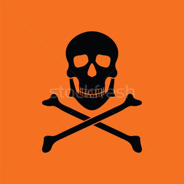 Ikon zehir kemikleri turuncu siyah Stok fotoğraf © angelp