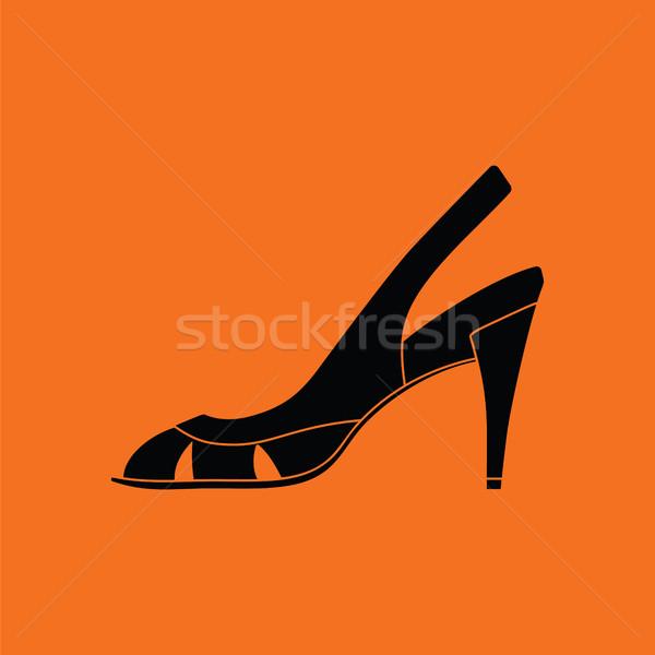 Nő ikon narancs fekete festék háttér Stock fotó © angelp