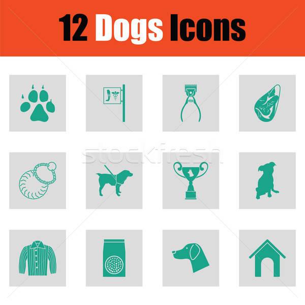 Stock fotó: Kutyák · ikon · gyűjtemény · zöld · szürke · terv · étel