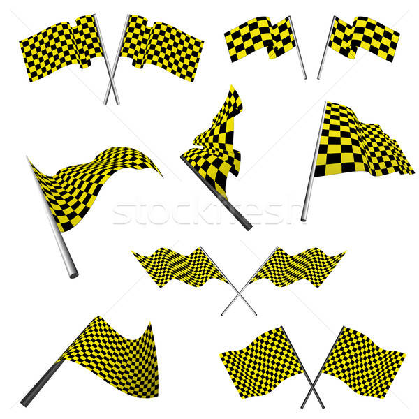 checked racing flags set Stock photo © angelp