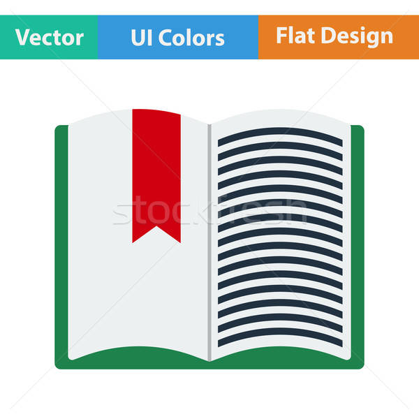 Stock photo: Flat design icon of Open book with bookmark