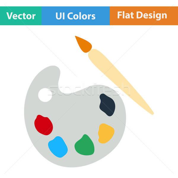Flat design icon of School palette Stock photo © angelp