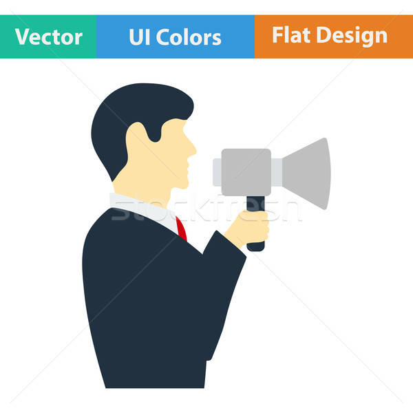 Flat design icon of Man with mouthpiece Stock photo © angelp