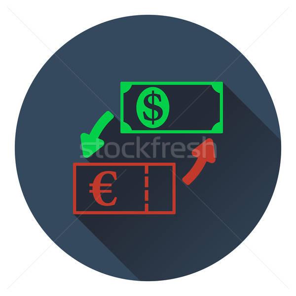 Moneda dólar euros intercambio icono negocios Foto stock © angelp