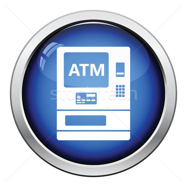 Atm icône bouton design argent Photo stock © angelp