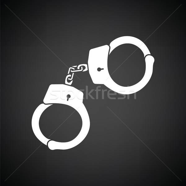 警察 手錠 アイコン 黒白 手 金属 ストックフォト © angelp