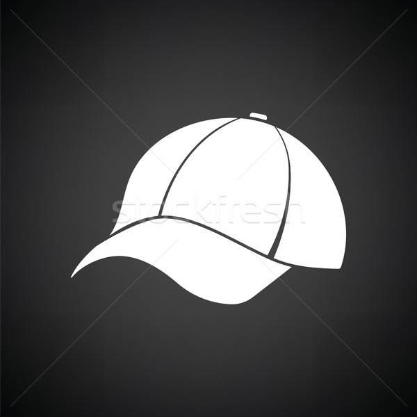 Baseballsapka ikon feketefehér divat baseball bolt Stock fotó © angelp