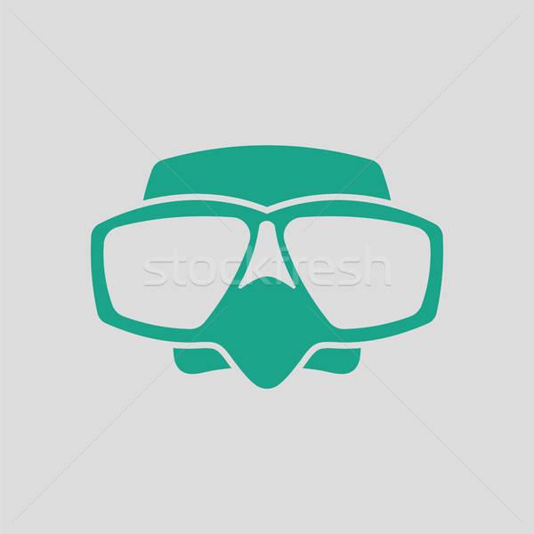 Ikon skuba maske gri yeşil deniz Stok fotoğraf © angelp
