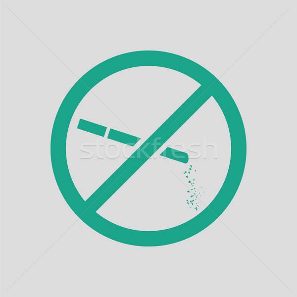 Dohányozni tilos ikon szürke zöld ipar dohányzás Stock fotó © angelp