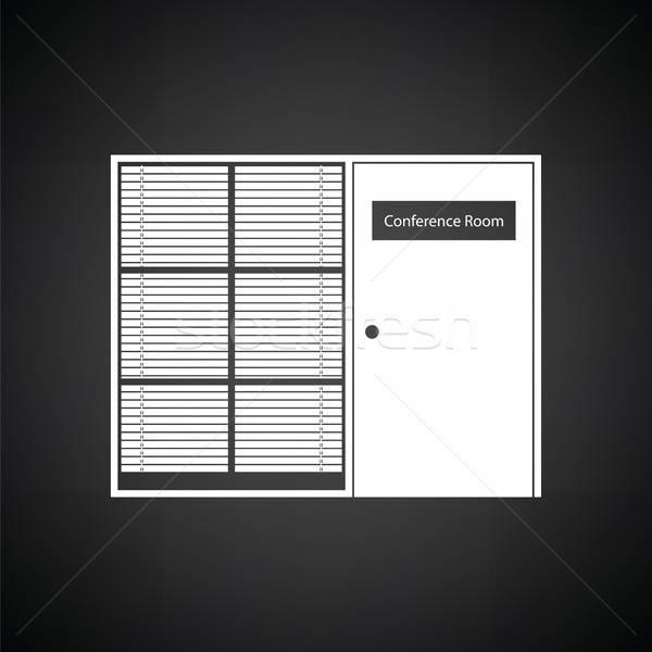 Conferentiezaal icon zwart wit werk achtergrond ruimte Stockfoto © angelp