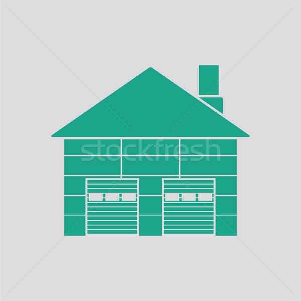 Magazynu ikona szary zielone niebo budynku Zdjęcia stock © angelp