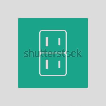 Elektrik soket ikon gri imzalamak enerji Stok fotoğraf © angelp