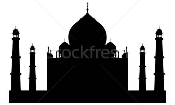 Taj Mahal temple silhouette design paysage architecture Photo stock © angelp