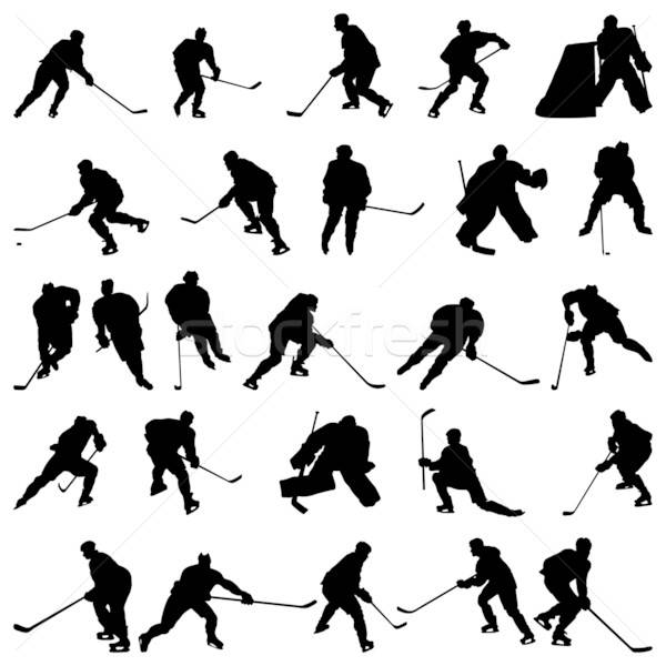 Hockey silhouetten ingesteld groot collectie vector Stockfoto © angelp
