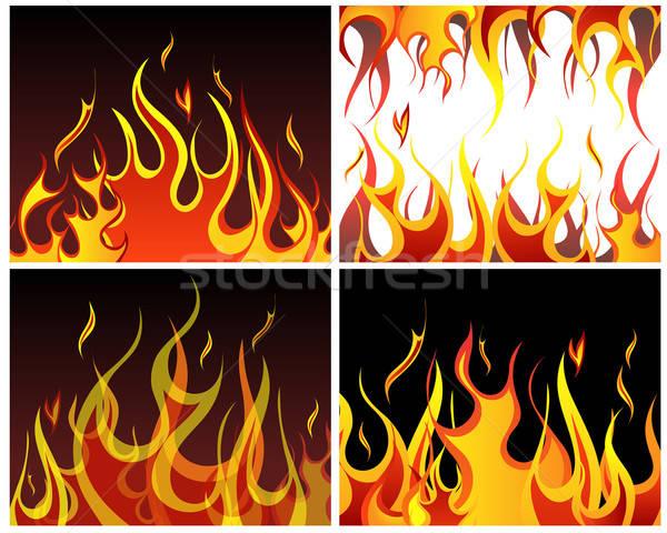 火災 背景 セット インフェルノ ベクトル デザイン ストックフォト © angelp