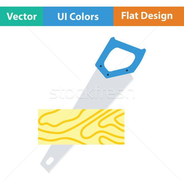 Handsaw cutting a plank icon. Flat color design. . Vector illustration. Stock photo © angelp
