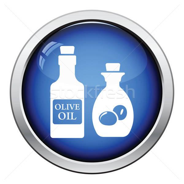 şişe zeytinyağı ikon parlak düğme dizayn Stok fotoğraf © angelp