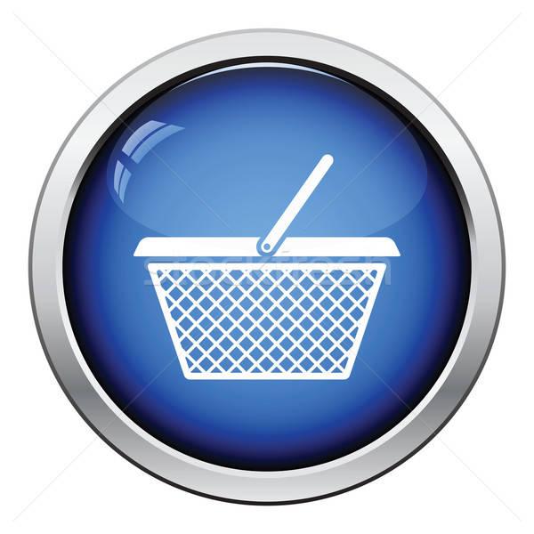 Bevásárlókosár ikon fényes gomb terv internet Stock fotó © angelp