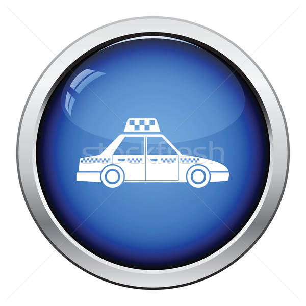 Taxi auto icon glanzend knop ontwerp Stockfoto © angelp