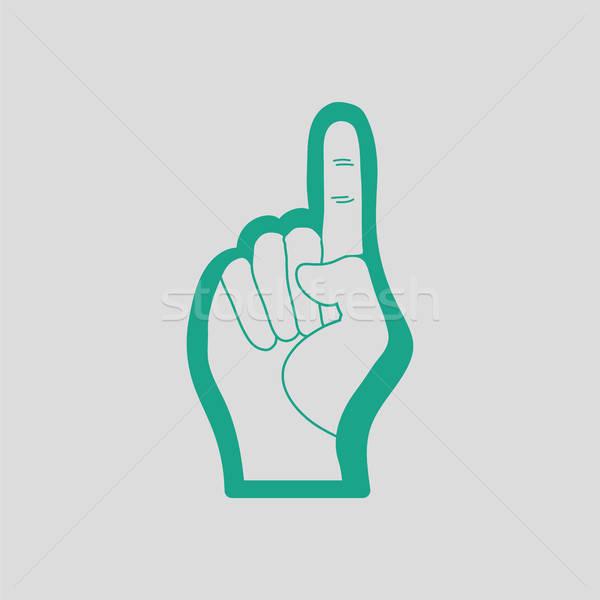 Amerikaanse voetbal schuim vinger icon grijs Stockfoto © angelp
