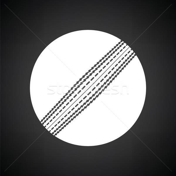 Foto stock: Críquete · bola · ícone · preto · e · branco · esportes · assinar