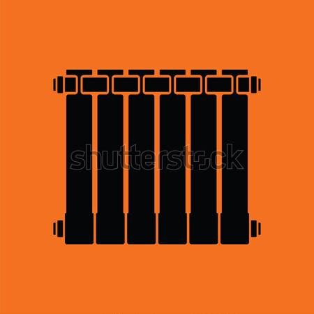 Icona radiatore arancione nero segno bagno Foto d'archivio © angelp