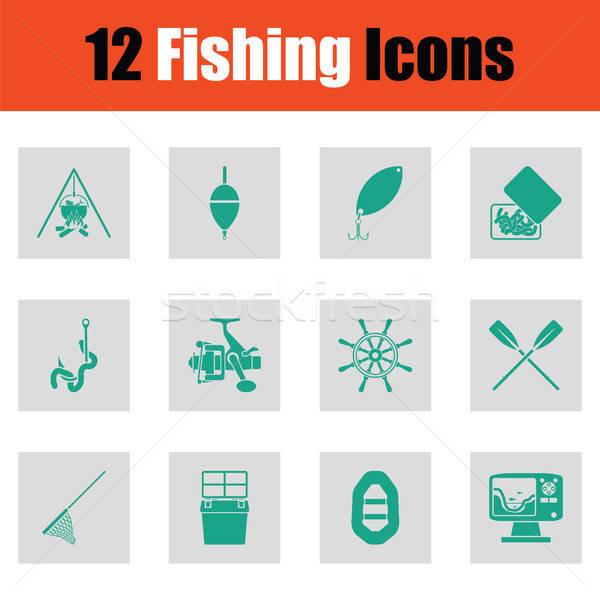 Fishing icon set Stock photo © angelp