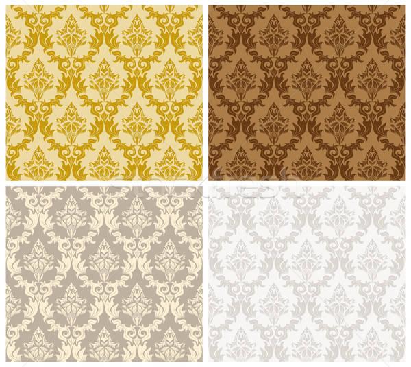 ダマスク織 シームレス 色 セット パターン 簡単 ストックフォト © angelp