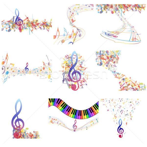 Multicolour  musical notes staff set Stock photo © angelp