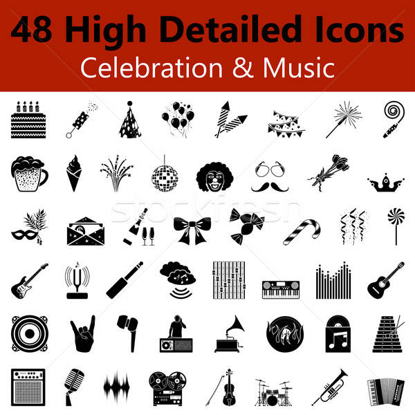 Celebration and Music Smooth Icons Stock photo © angelp