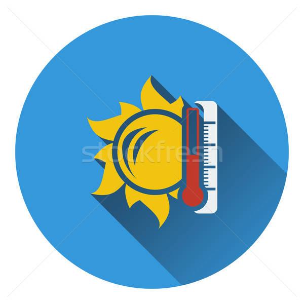 Zon thermometer hoog temperatuur icon voorjaar Stockfoto © angelp