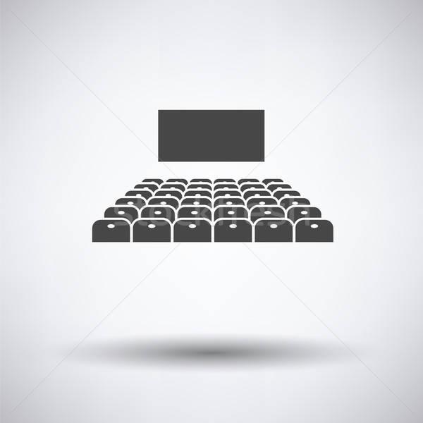 Mozi auditórium ikon szürke háttér koncert Stock fotó © angelp