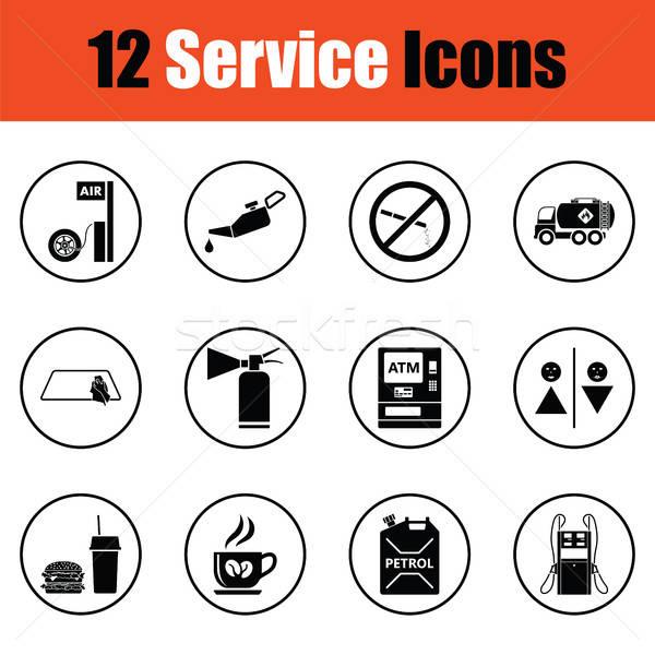 Establecer doce gasolinera iconos delgado Foto stock © angelp