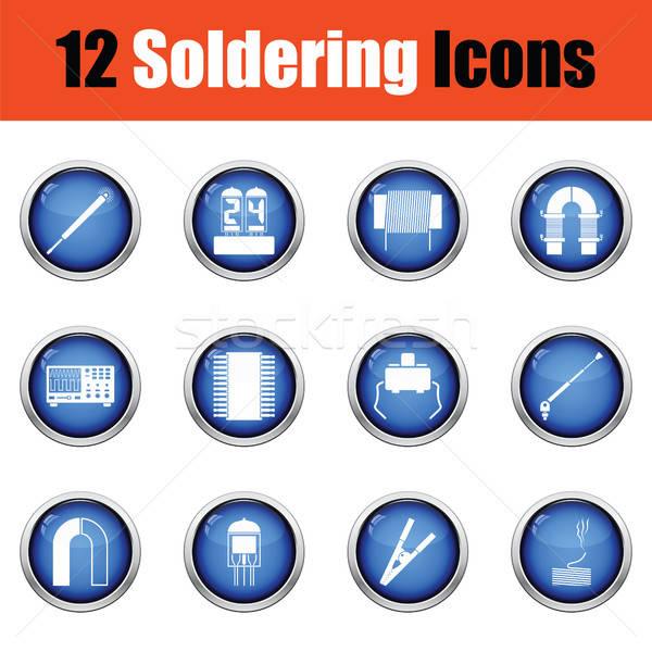 Ingesteld twaalf soldering iconen glanzend Stockfoto © angelp