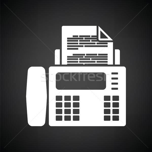 Fax icône blanc noir ordinateur papier téléphone Photo stock © angelp