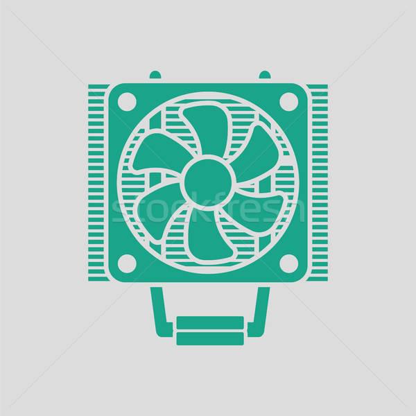 Cpu fan ikon gri yeşil teknoloji Stok fotoğraf © angelp