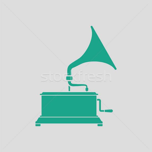 Gramofon ikon gri yeşil müzik arka plan Stok fotoğraf © angelp
