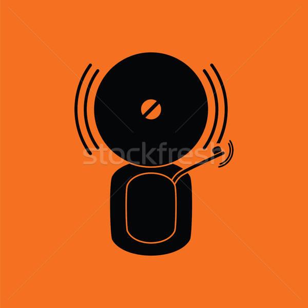 Stockfoto: Brandmelder · icon · oranje · zwarte · brand · metaal