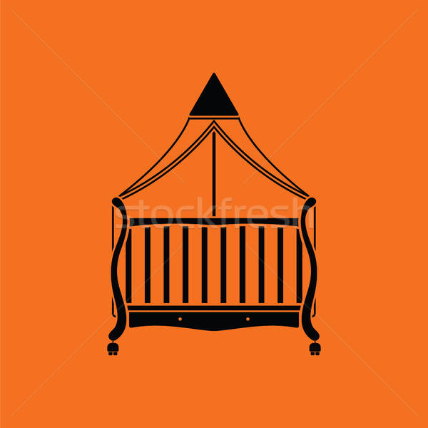 Wiege Symbol orange schwarz Haus Baby Stock foto © angelp
