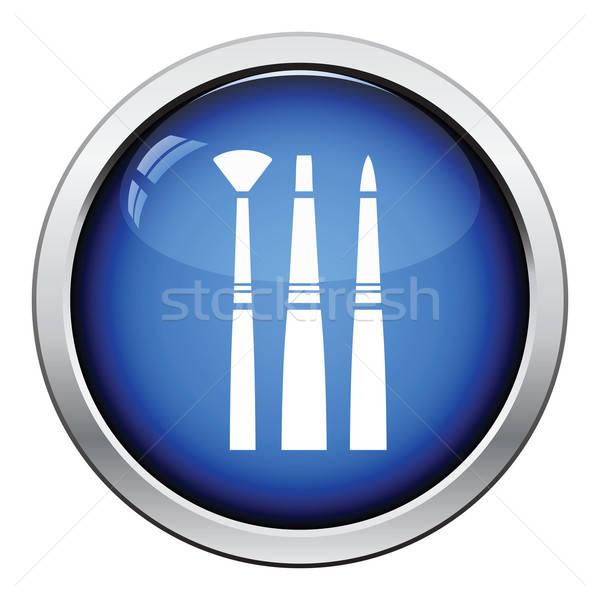 Paint brushes set icon Stock photo © angelp