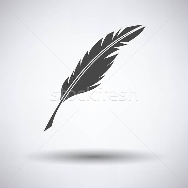 Escrita pena ícone cinza abstrato caneta Foto stock © angelp