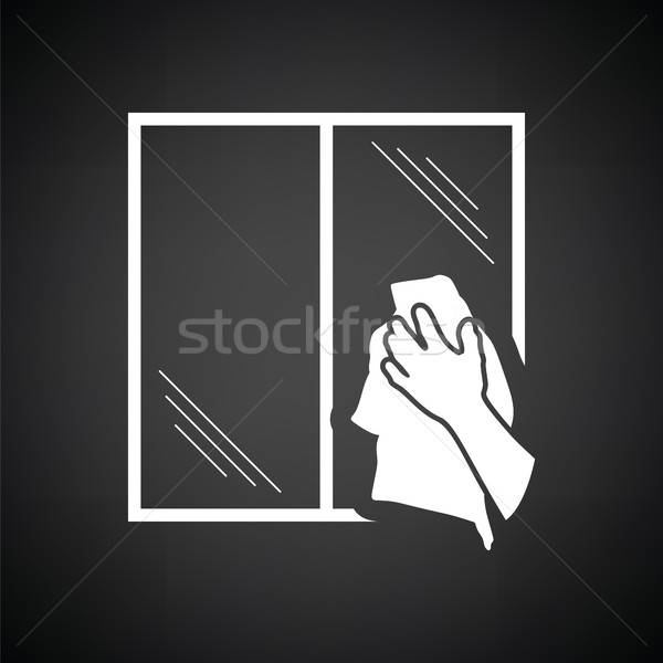 Hand wiping window icon Stock photo © angelp