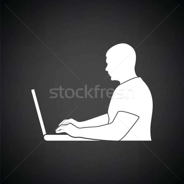 Yazar çalışmak ikon siyah beyaz bilgisayar Internet Stok fotoğraf © angelp