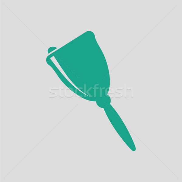 Schule Hand Glocke Symbol grau grünen Stock foto © angelp