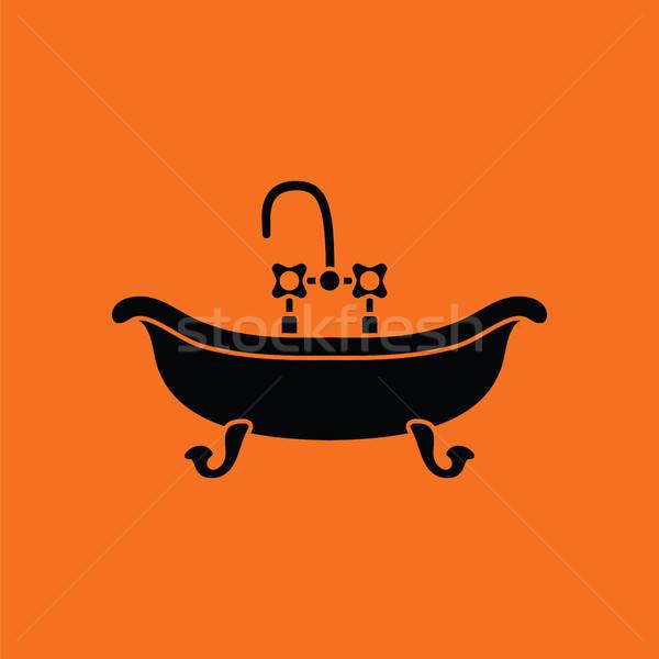Vasca da bagno icona arancione nero acqua sfondo Foto d'archivio © angelp