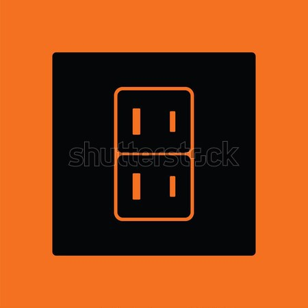 Elektomos foglalat ikon narancs fekete felirat Stock fotó © angelp