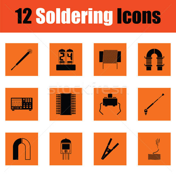 Set of twelve soldering  icons Stock photo © angelp