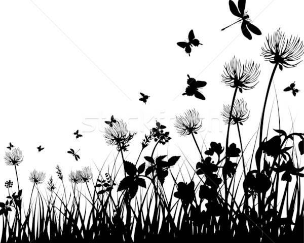 Wiese Silhouetten Vektor Gras alle Objekte Stock foto © angelp