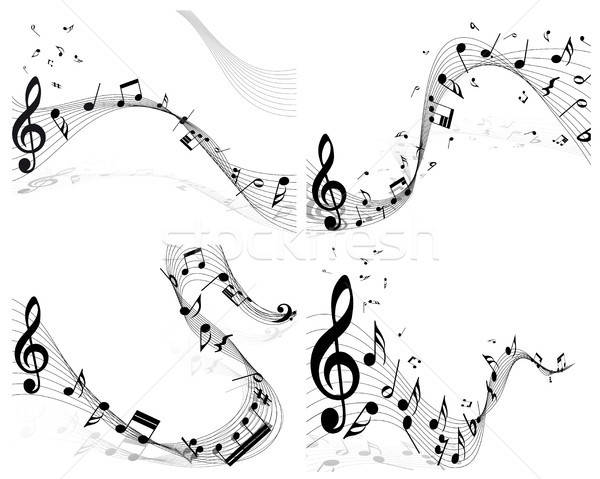 Musical note staff set Stock photo © angelp